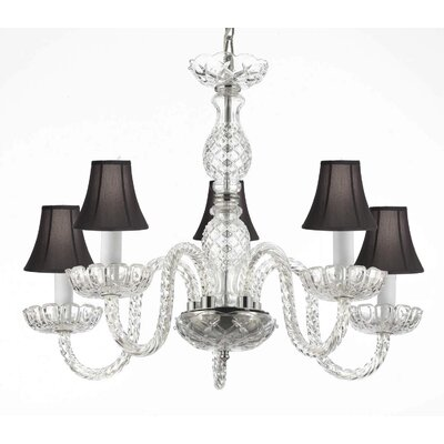 Bowerville 5-Light Shaded Chandelier Shade Color: Black