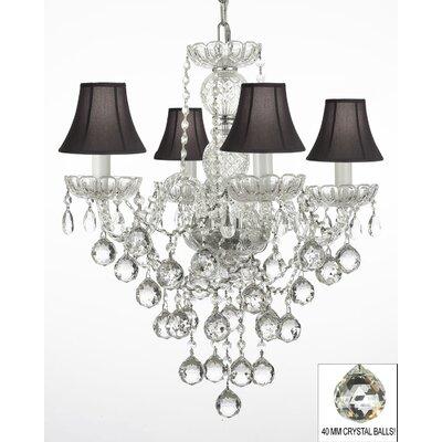 Hoffman 4-Light Crystal Chandelier Shade Color: Black