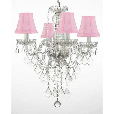 Hoffman 4-Light Crystal Chandelier Shade Color: Pink