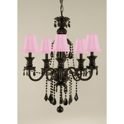 Gothic 5-Light Crystal Chandelier Shade Color: Pink
