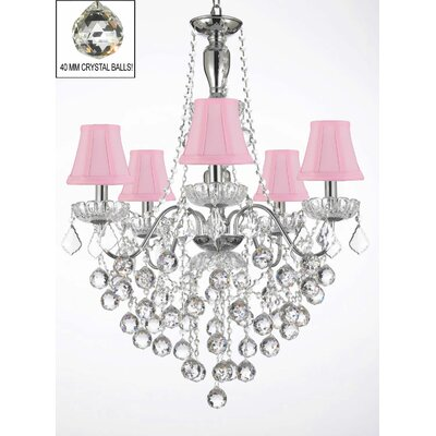 Elegant 5-Light Crystal Chandelier Shade Color: Pink