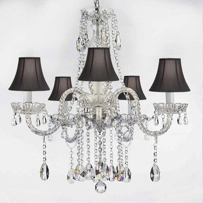 Hoffman 5-Light Crystal Chandelier Shade Color: Black