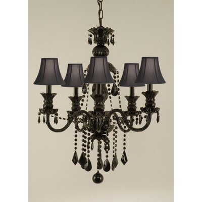 Gothic 5-Light Crystal Chandelier Shade Color: Black