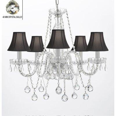 Hoffman 5-Light Crystal Chandelier Shade Color: Black