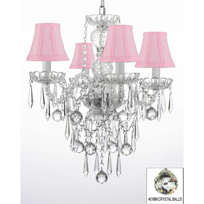 Kimbrel 4-Light Crystal Chandelier Shade Color: Pink