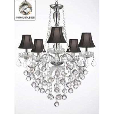 Elegant 5-Light Crystal Chandelier Shade Color: Black