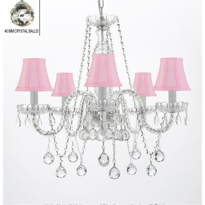 Hoffman 5-Light Crystal Chandelier Shade Color: Pink