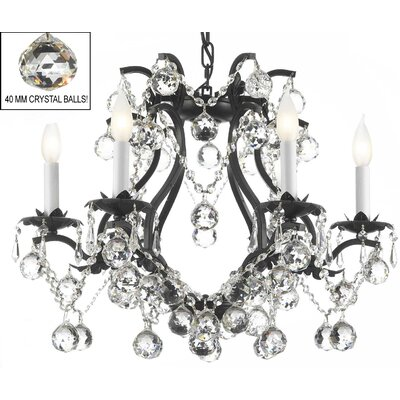 Alvarado 6-Light Elegance Crystal Chandelier Finish: Black