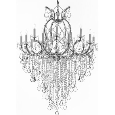 Alvarado 16-Light Crystal Chandelier Finish: Silver
