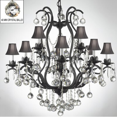 Alvan 12-Light Bell Shade Crystal Chandelier Shade Color: Black