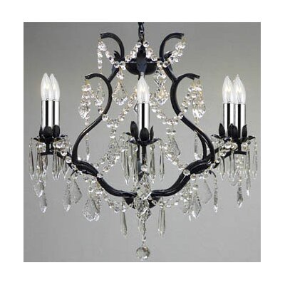 Clemence 6-Light Crystal Chandelier with Chain and Wire Finish: Black