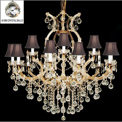 Alvarado 16-Light Bell Shade Crystal Chandelier Finish: Golden
