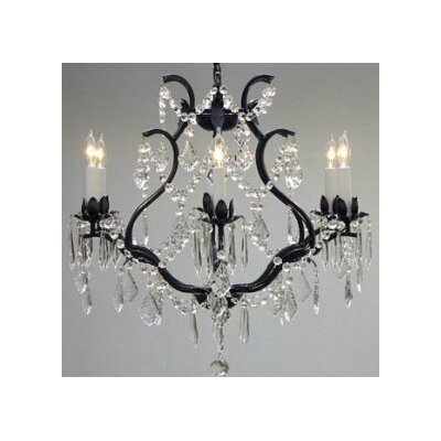 Alvarado 6-Light Crystal Chandelier Finish: Black