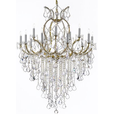 Alvarado 16-Light Crystal Chandelier Finish: Golden