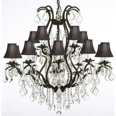 Clemence 15-Light Wrought Iron Crystal Chandelier