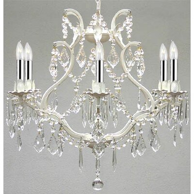 Clemence 6-Light 40W Crystal Chandelier with Chain and Wire Finish: White