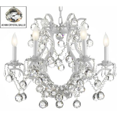 Alvarado 6-Light Chain Crystal Chandelier Finish: White