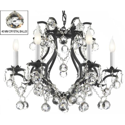 Alvarado 6-Light Chain Crystal Chandelier Finish: Black