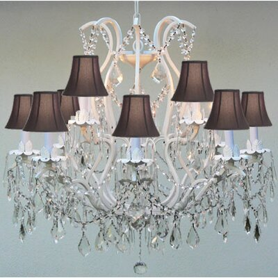 Clemence 6-Light Bell Fabric Shade Crystal Chandelier