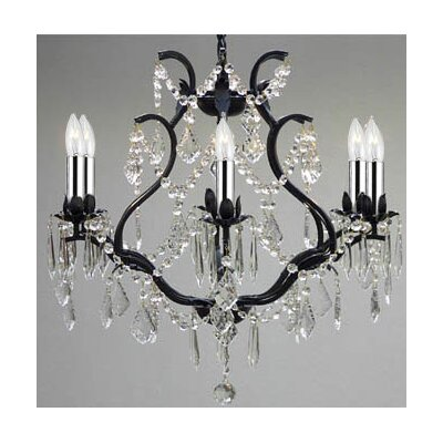 Clemence 6-Light 40W Crystal Chandelier with Chain and Wire Finish: Black