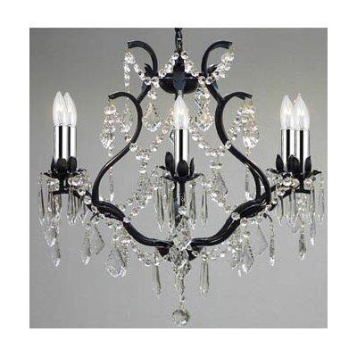 Versailles 6-Light Crystal Chandelier Finish: Black