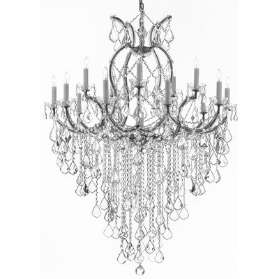 Alvarado 16-Light Chain Crystal Chandelier Color: Silver