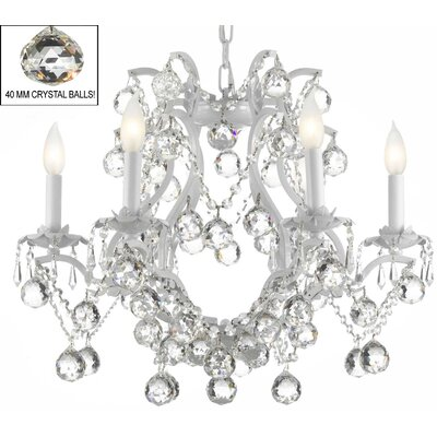 Alvarado 6-Light Elegance Crystal Chandelier Finish: White
