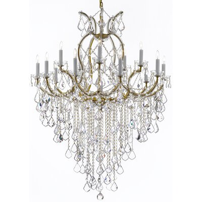 Alvarado 16-Light Chain Crystal Chandelier Color: Golden