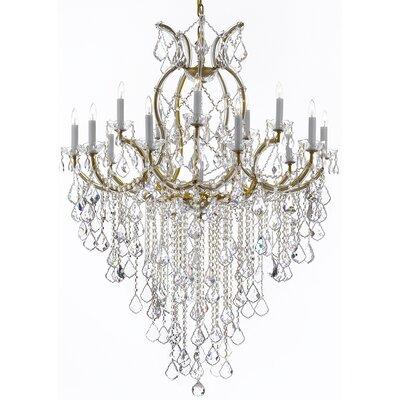 Alvarado 16-Light Chain Crystal Chandelier Finish: Golden