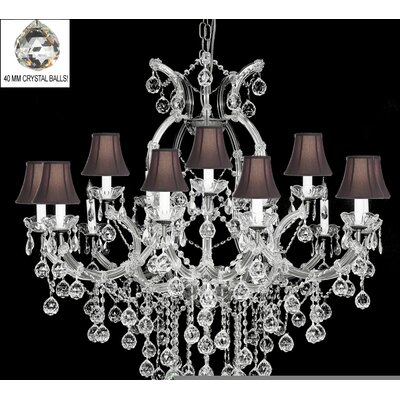 Alvarado 16-Light Bell Shade Crystal Chandelier Color: Silver