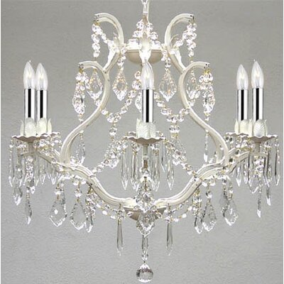 Clemence 6-Light Crystal Chandelier with Chain and Wire Finish: White