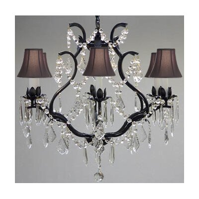 Clemence 6-Light Black Crystal Chandelier