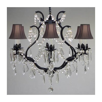 Clemence 6-Light Fabric Shade Crystal Chandelier