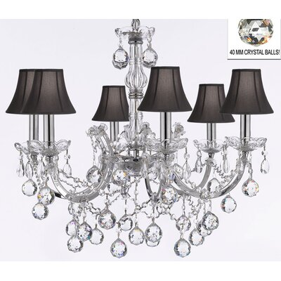 Maria Theresa 6-Light Crystal Chandelier Shade Color: Black