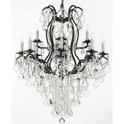 Alvan 12-Light Elegance Black Crystal Chandelier