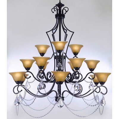 Alvan 15-Light Black/Beige Shaded Chandelier