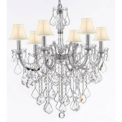 Alvarado 6-Light Chrome/Beige Crystal Chandelier