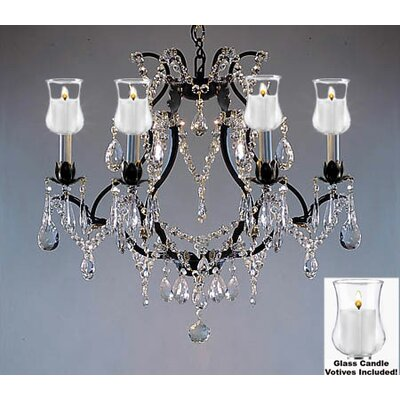 Clemence 6-Light Chrome/Black Crystal Chandelier