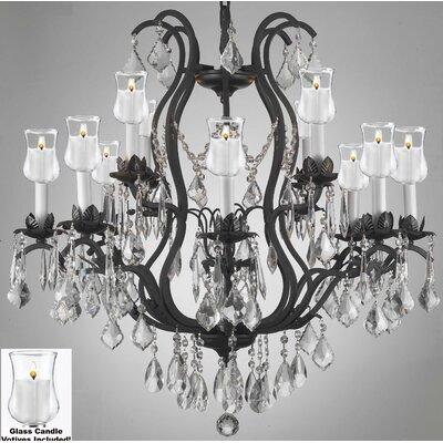 Alvan 12-Light Black Crystal Chandelier