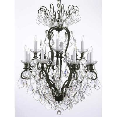 Alvan 12-Light Black Chain Crystal Chandelier
