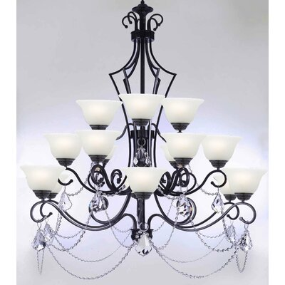 Alvan 15-Light Black/White Shaded Chandelier