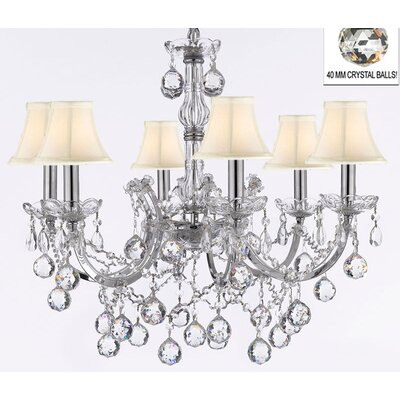 Maria Theresa 6-Light Crystal Chandelier Shade Color: White