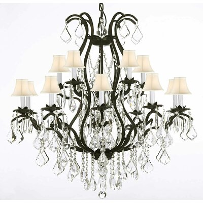Alvan 15-Light White Crystal Chandelier