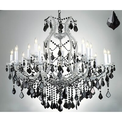 Dacia 16-Light Silver/Black Crystal Chandelier