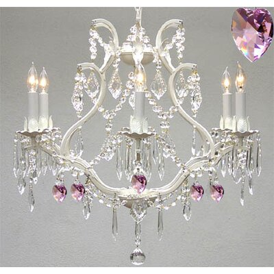 Clemence 6-Light Crystal Chandelier with Pink Hearts