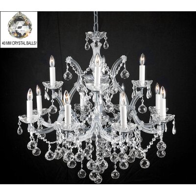 Alvarado 13-Light Silver Chain Crystal Chandelier