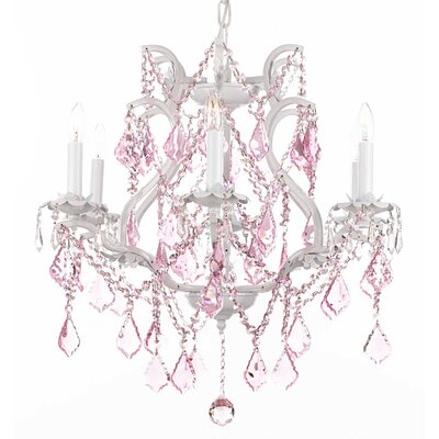 Dacia 6-Light White Crystal Chandelier