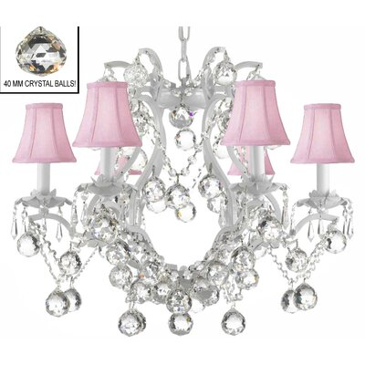 Dacia 6-Light Pink Shade Crystal Chandelier