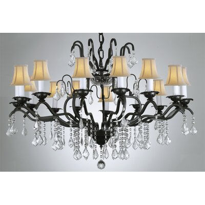 Alvan 12-Light Black/White Crystal Chandelier