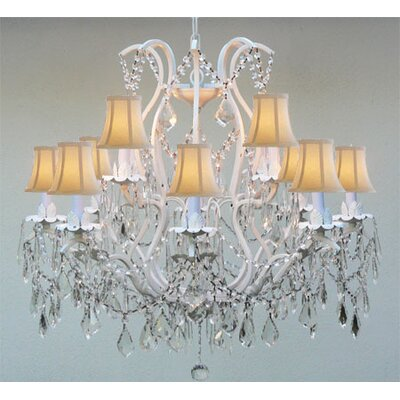 Alvan 12-Light White Crystal Chandelier
